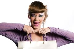 Cheerful girl with bag Royalty Free Stock Images