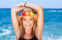 Cheerful girl on the beach Royalty Free Stock Images