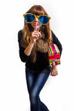 Cheerful girl with big sunglasses Stock Photography