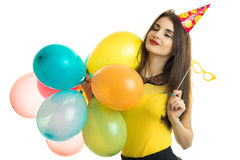 Cheerful girl on birthday party Royalty Free Stock Image