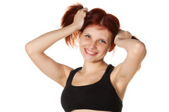 Cheerful girl in black sports lingerie. Royalty Free Stock Image