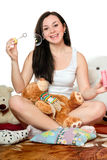 Cheerful girl blow bubbles. Isolated Royalty Free Stock Photo