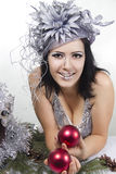 Cheerful girl bodyart with Christmas red ball Stock Photo