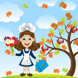 Cheerful girl with a bouquet of flowers around the Rowan tree Royalty Free Stock Images