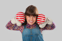 Cheerful girl with a boxing gloves Royalty Free Stock Image