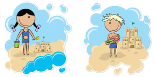 Cheerful girl and boy and the sand castle Stock Images