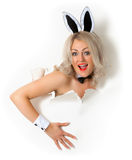 Cheerful girl in bunny suit looking out of hole Stock Photo