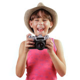 Cheerful girl with a camera Stock Image