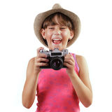 Cheerful girl with a camera Stock Photos
