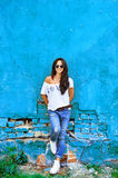 Cheerful girl in casual clothes Royalty Free Stock Images