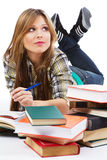Cheerful girl in casual clothing Stock Photos
