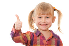 Cheerful girl in casual with thumb up Royalty Free Stock Image