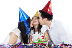 Cheerful girl celebrate birthday Royalty Free Stock Image