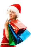 Cheerful girl with Chrismas presents Royalty Free Stock Photography