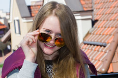 Cheerful girl in the city Royalty Free Stock Images