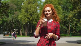 Positive red haired girl walking in park and drinking coffee. Cheerful girl with curly red hair walking in sunny park and drinking coffee with blurred background stock footage