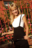 Cheerful girl cycling Royalty Free Stock Photo