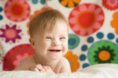 Cheerful girl with  Down  syndrome. Cheerful girl with Down syndrome Royalty Free Stock Photos