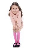 Cheerful girl in a dress and pink cardigan liked royalty free stock photos