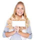 Cheerful girl with dry maple leaves Stock Photo