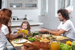 Happy father and mother feeding her child by healthy food royalty free stock image