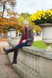 Cheerful girl enjoying a fall day stock image