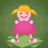 Picture of a little cheerful girl in a pink dress with a backpack on a green background. Cheerful girl first grader in a pink dress Stock Photography