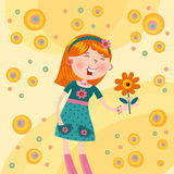 Cheerful girl with a flower Stock Photos