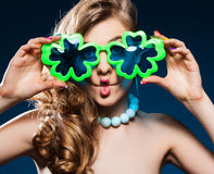 Cheerful girl fooling around Royalty Free Stock Image