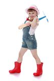 Cheerful girl gardener in rubber boots Stock Photos