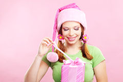 Cheerful girl with gift Royalty Free Stock Image