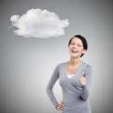 Cheerful girl gives thumb up Royalty Free Stock Photos