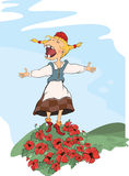 The cheerful girl and glade with poppies Stock Photography