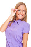 Cheerful girl in glasses Stock Image