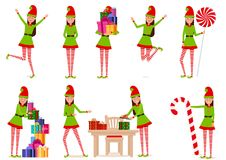 A cheerful girl in a gnome costume. Set of vector, isolated objects. Vector illustration. Painted in shape royalty free illustration