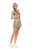 Cheerful Girl In Gold Mini Dress Full Length Stock Photography