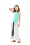 Cheerful girl in gray long skirt Stock Images