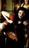 Cheerful girl with handbag Royalty Free Stock Photography