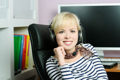 Cheerful girl in headphones Stock Photo