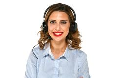 Cheerful girl with headset Stock Photos