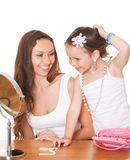 Cheerful girl and her mother Royalty Free Stock Image