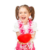 Cheerful girl holding heart Royalty Free Stock Photo