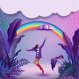 Cheerful girl holding an umbrella and hiding from the rain and d. Ancing in tropical jungle forest royalty free illustration