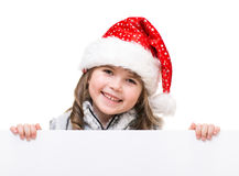 Cheerful girl holding white cardboard Royalty Free Stock Images