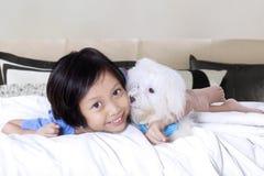 Cheerful girl hugs maltese dog on bed Royalty Free Stock Image