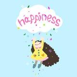 Cheerful girl. Joyful girl jumping for happiness Stock Photos