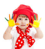 Cheerful girl kid with painted hands Stock Photo
