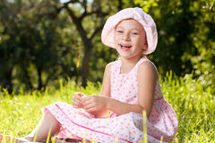 Cheerful girl laughing in the summer dress Stock Photos