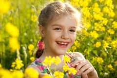 Cheerful girl in a light dress Royalty Free Stock Image