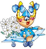The cheerful girl - the military pilot. Stock Photo